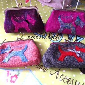Harris Tweed Purses - hand detailing - embroidery, needle felting, applique.  Handmade purse, satin lining, Harris Tweed label on the back