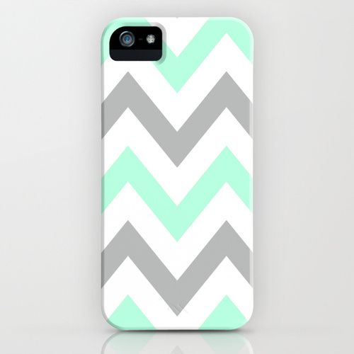 MINT & GRAY CHEVRON iPhone Case!
