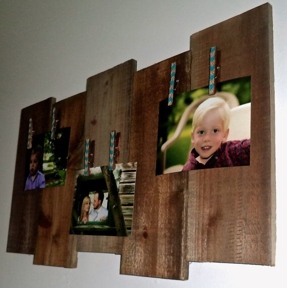 Salvaged Picture canvas of rustic pallets and farm wood + burlap chevron clothespins. on Etsy, $25.00