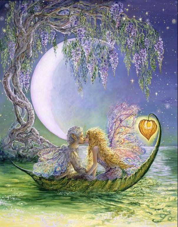 Wisteria Moon • Josephine Wall: Fantasy, A Kiss, Moon, First Kiss, The Kiss, Boats, Josephine Wall, Full Bloom, Fairies Tales