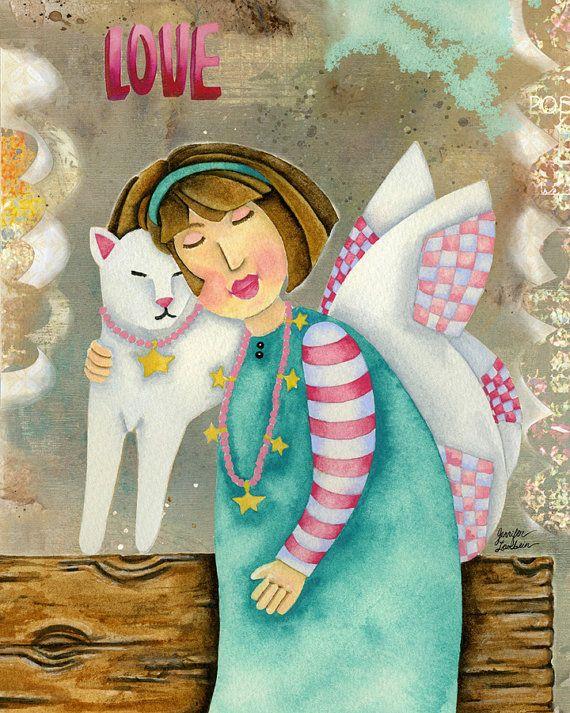 Art Print. Kitty Angel Love par studiopetite sur Etsy