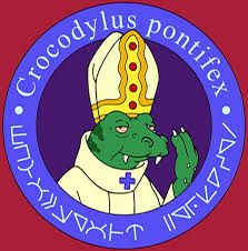 In the TV series futurama, their is a reptilian space pope who is head of the Catholic Church