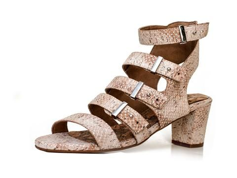 Oasis Cork Strappy Sandals by BHAVA. In addition to its focus on sustainability, BHAVA creates shoes that are hand-woven, organic, recycled and made with cruelty free components. Sustainable looks good on these sandals.