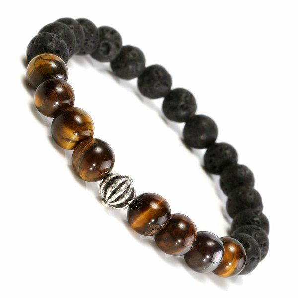 6mm Black Lava Rock Tiger Eye Stone Elastic Bracelet at Banggood