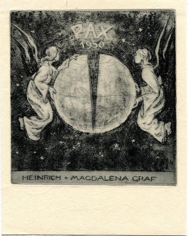 """O-Radierung (acquaforte), P.F. """"Pax 1950 Heinrich + Magdalena Graf"""", 10,8 x 10,3 cm auf Büttenpapier 14,5 x 11 cm. Im Druck monogrammiert. Rücks. 2 kl. Montagereste. von Winkler, Eduard (1884, St. Petersburg,-1978, München. Exlibris-Künstler): 0 - Signum Antiquariat"""