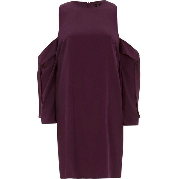 River Island Purple cold shoulder swing dress ($84) ❤ liked on Polyvore featuring dresses, purple, swing dresses, women, swing dress, purple swing dress, open shoulder swing dress, long sleeve dress and purple long sleeve dress