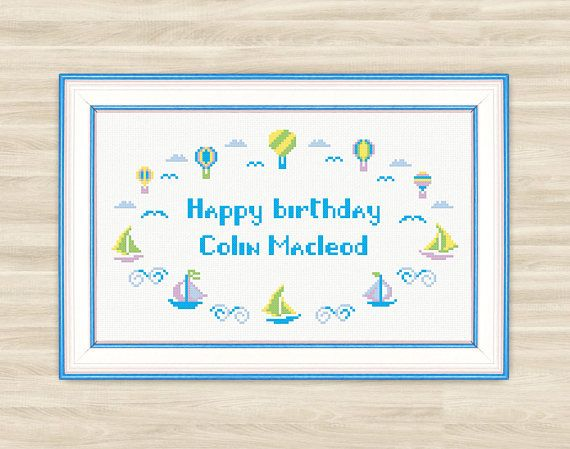 Buy 2 get 1 free Happy Birthday Cross Stitch Pattern PDF