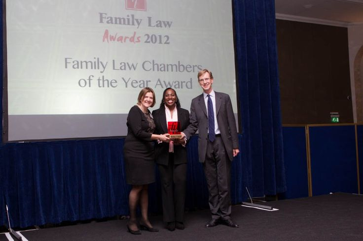 Caroline Newman LLM of #Lawdacity presenting the Family Law Chambers of the Year Award 2012 to Stephen Cobb and Janet Bazley QC of 1Garden Court