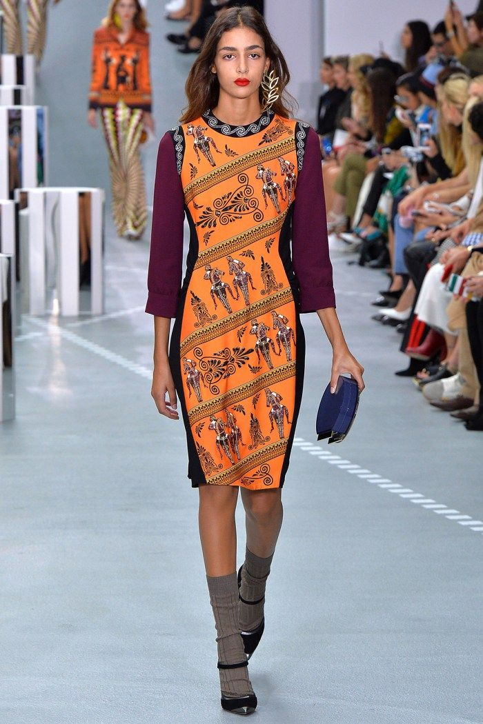 Mary Katrantzou | Theia dress dewel | Mary Katrantzou combines the ancient with the hyper-modern, fusing classicism with futurism and sixties art. Ancient artefacts are warped through op-art designs, mapped across the topography of the…