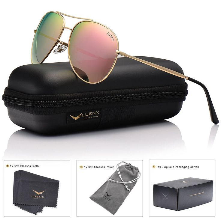LUENX Aviator Sunglasses Polarized for Men Women with Case 400 UV Mirrored Lens 58mm