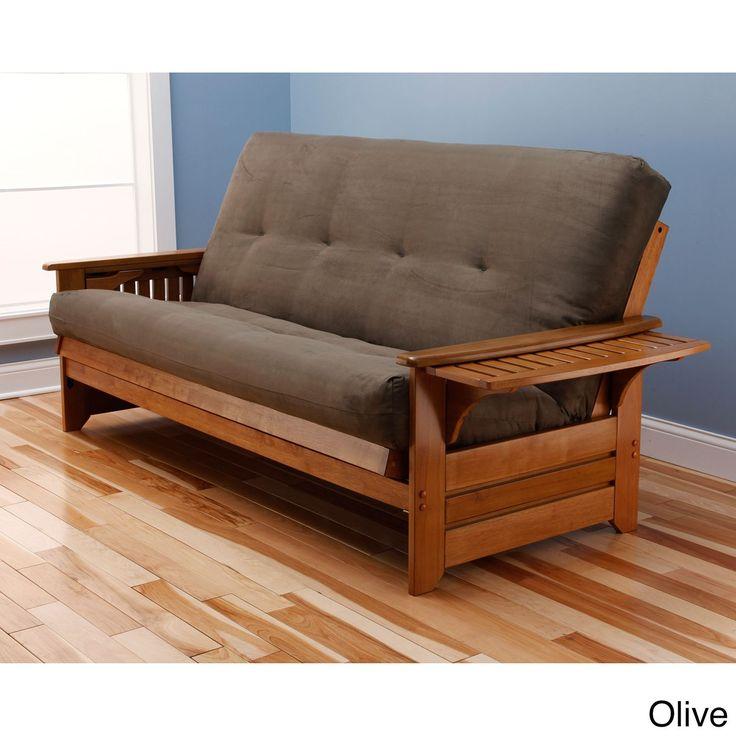 somette ali phonics multi flex honey oak full size wood futon frame with innerspring - Wood Frame Futon With Mattress