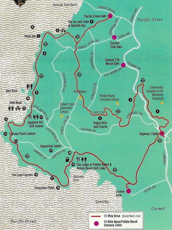 San Jose Monterey Map%0A    Mile Drive  Monterey peninsula  California