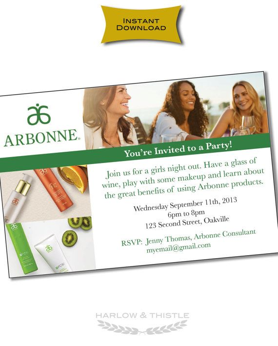 INSTANT DOWNLOAD Printable Arbonne Party by HarlowAndThistle