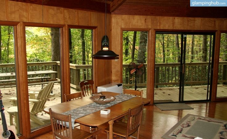 The crisp mountain air and soothing wildlife sounds at this upscale tree house cabin in North Carolina are enough to rejuvenate any guest who stays here. It has an enormous deck that allows guests to barbecue or simply relax with a glass of wine, and the view of Mount Mitchell and the Black Mountain Range is truly unforgettable. Relaxation isn't the only benefit of this luxury rental, however. This glamping tree house is surrounded by fantastic hiking and mountain biking trails, and there…