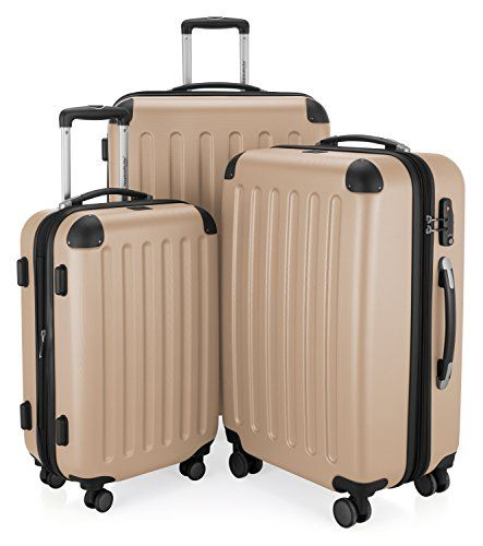 HAUPTSTADTKOFFER - Spree - Set of 3 Hard-side Luggages Glossy Suitcase Hardside Spinner Trolley Expandable (20 24 & 28) TSA Champagne