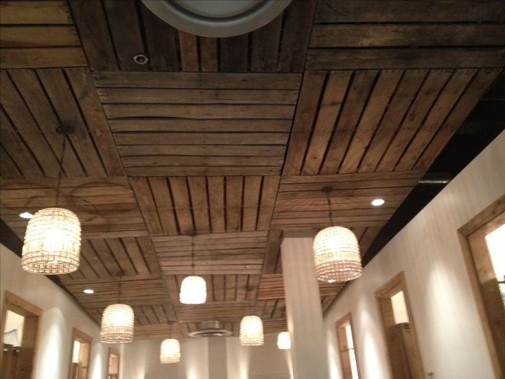 Pallet ceiling--love this idea for basement!