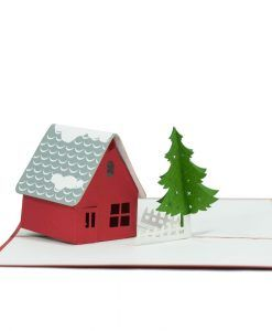 The Happy Christmas House pop up card has a beautiful red cover that features a cute Santa climbing a chimney on Christmas night. Inside the card is a small house with the roof covered with snow. On their snow-white yard is a big Pine tree. We always leave the card blank so that you can personalize your own words.