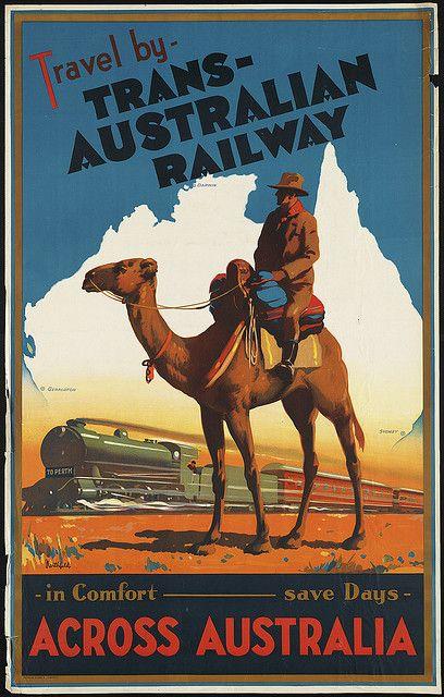 """Image detail for --Australian Railway across Australia,"""" c.1930.Vintage travel poster ..."""