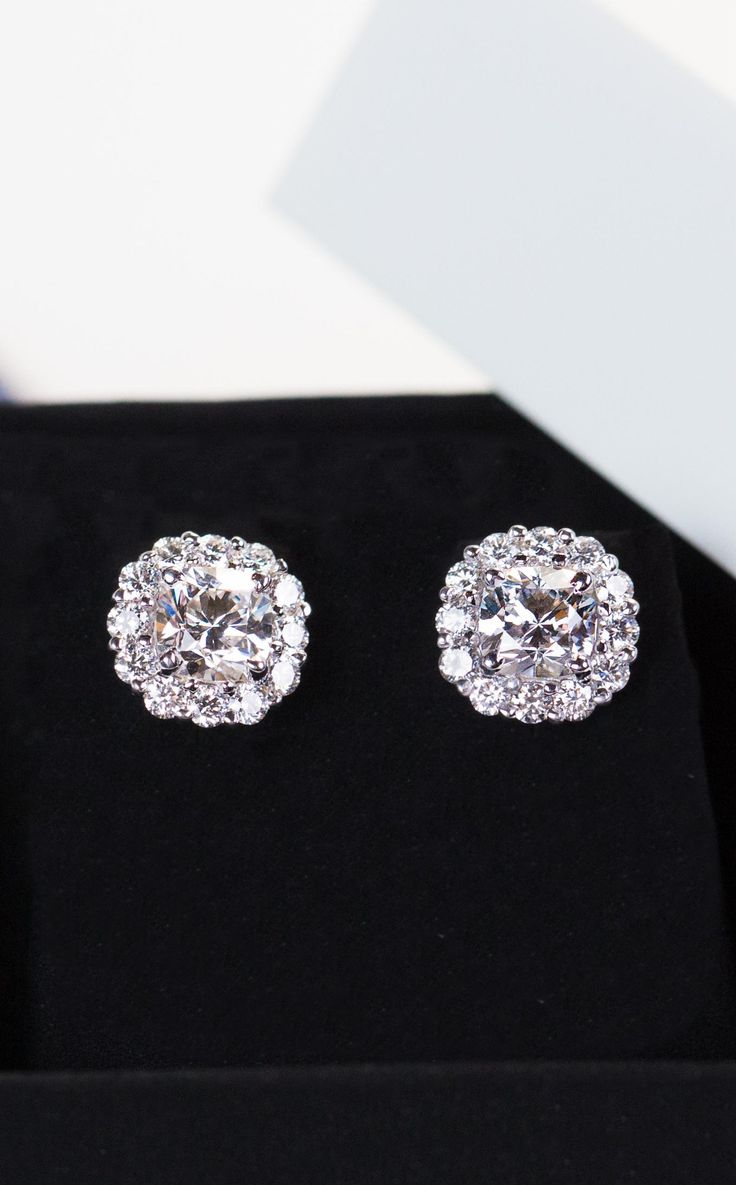 stud gold tw earrings diamonds carat diamond of with white in flat