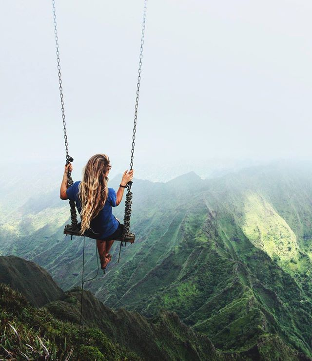 Swing at the top of The Haiku Stairs in Oahu, Hawaii  cc: @caressame