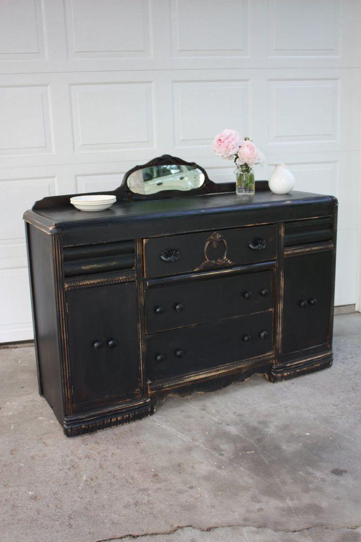 Black Distressed Furniture | Vintage Black Distressed Buffet}