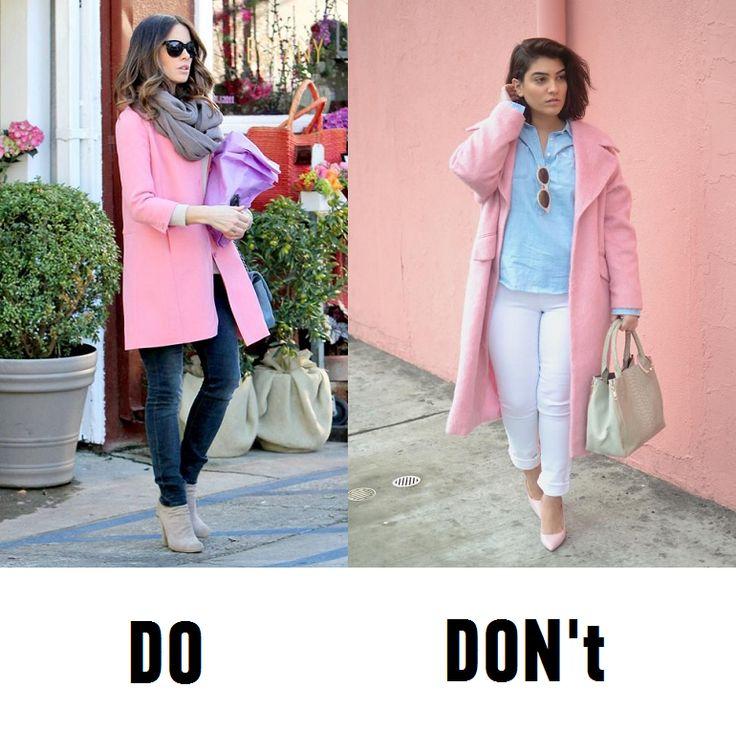 Всем хочется носить пудровый розовый. Но девушкам яркой контрастной внешности, чтобы не выглядеть только что вставшими с постели, стоит к лицу брать посредника - снуд в подходящих тонах. #snood #scarf #pink #coat #stylebugs #dosdonts