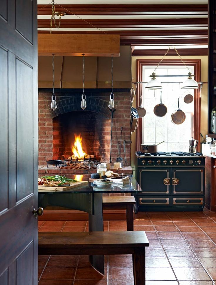 Rustic Modern Kitchen With Fireplace Trophy Cook Stove Interior Design Decorating Ideas