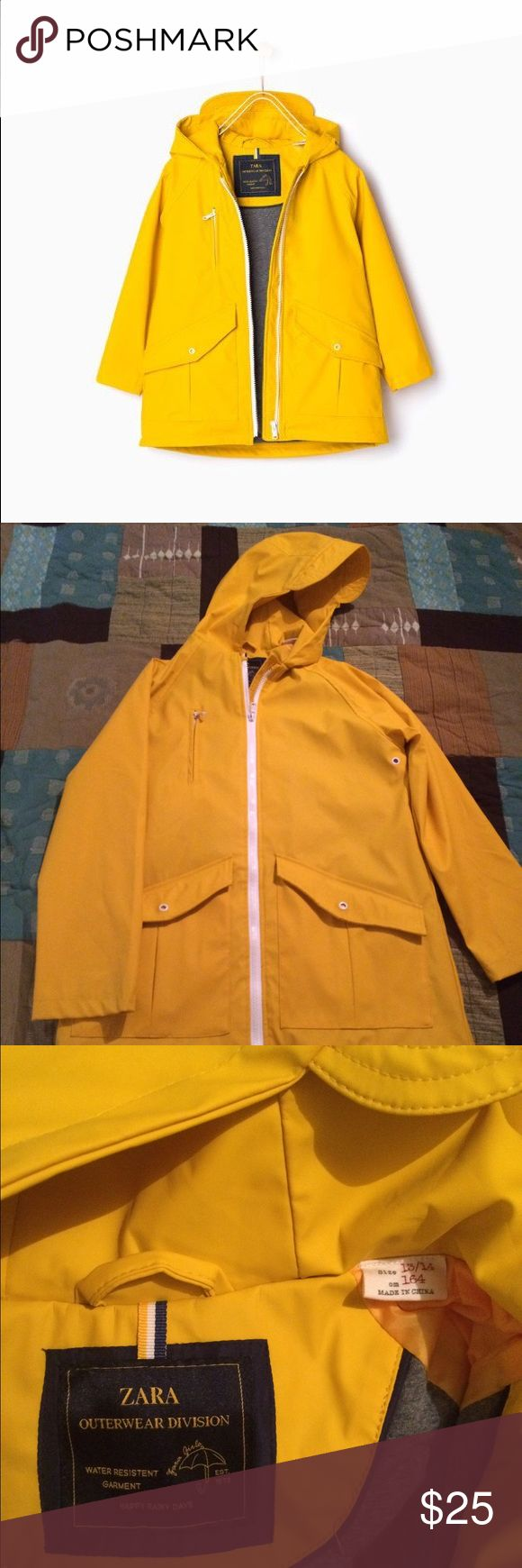Yellow raincoat Zara kids yellow rubber raincoat, kids size 13-14, fits a women's small except has slightly shorter sleeves. In good used condition, just has a small mark by front zipper (see last pic). Zara Jackets & Coats Raincoats