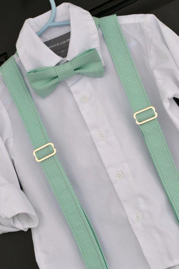 Mint with Grey Polka Dots Bowtie & Suspender Set - Baby / Toddler / Child (www.idresstothrill.com)