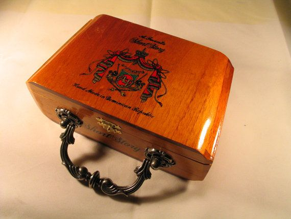 Handmade Cigar Box Purse With Elegant, Victorian Style, Silver, Metal Handle Handbag via Etsy