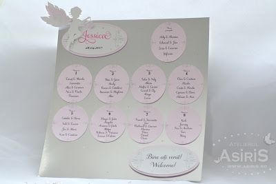 Tablou asezare invitati botez cu ingeras roz