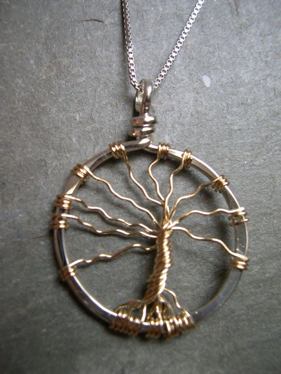 Medium Plain Tree in Sterling silver and Gold by SageJewelryVT