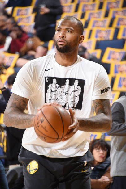 e3abb4fea679 DeMarcus Cousins of the Golden State Warriors warms up prior to the game  against the Houston Rockets on January 3 2019 at ORACLE Arena in Oakland.