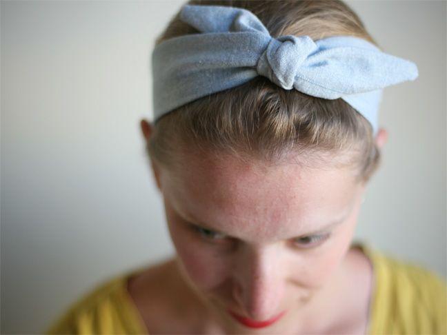 DIY 50's style bowtie headband (make a couple for hospital go-bag).