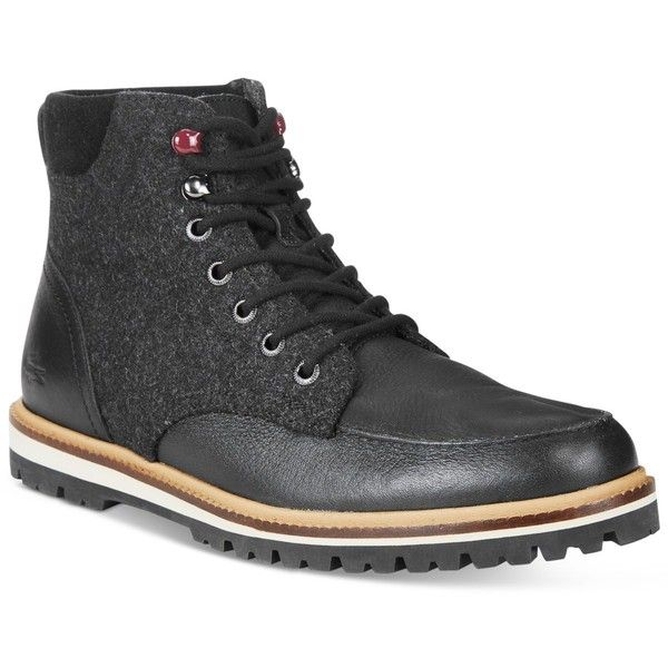 Lacoste Men's Leather Montbard Boots ($220) ❤ liked on Polyvore featuring men's fashion, men's shoes, men's boots, black, mens black leather shoes, mens black shoes, mens rugged leather boots, mens boots and mens shoes