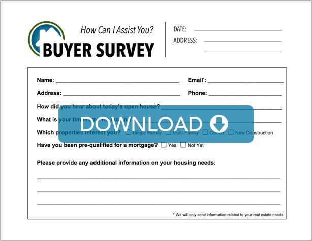 A Full Real Estate Open House Sign-In Sheet with a buyer\'s survey ...