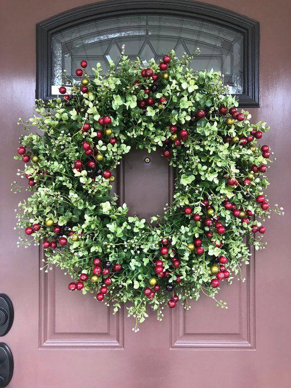 Christmas Wreath Eucalyptus Red Berry Elegant Holiday Front Door