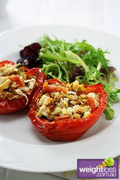 Healthy Fish Recipes: Stuffed Capsicum with Tuna Recipe. #HealthyRecipes #DietRecipes #WeightlossRecipes weightloss.com.au