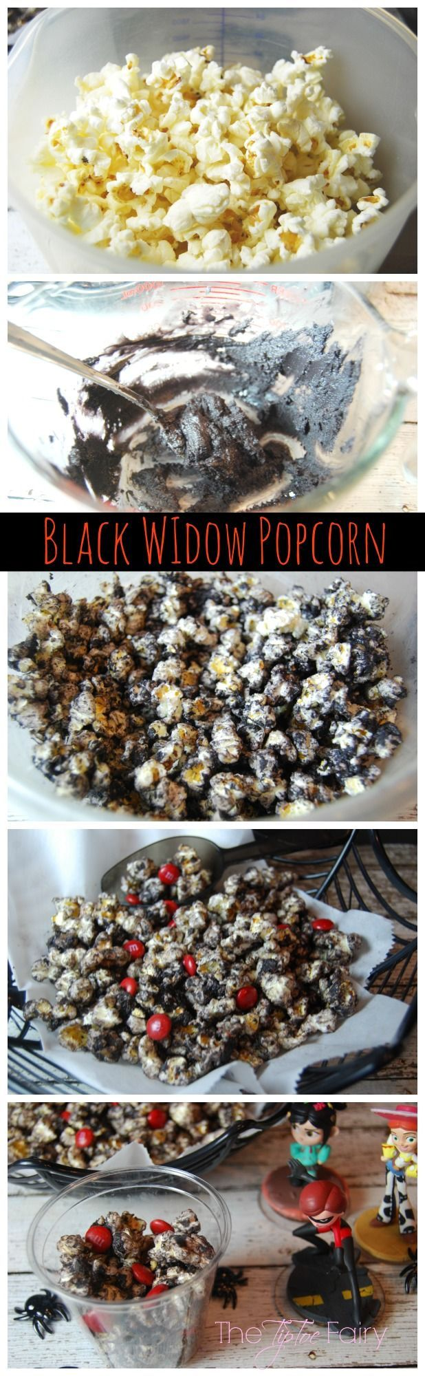 Black Widow Popcorn - made with chocolate cake batter for a yummy treat! Perfect for that Avengers party!