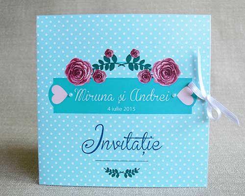 Roses and polka dots make a powerful and also romantic combination for a wedding invite - invitatii de nunta - Colectia Melissa