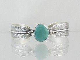Lena Platero Sterling Silver Turquoise Feather Bracelet for $299.00 | Native American Jewelry