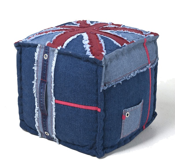 Taburete British denim cubo - Square Stool British denim