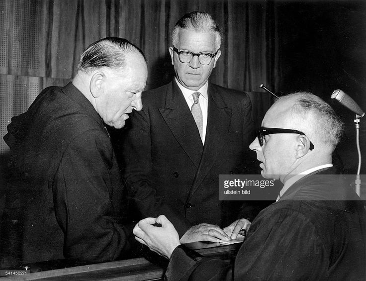 "Roehm Trial, Munich, May 1957, the defendants Josef ""Sepp"" Dietrich and Michael Lippert during the pronouncement."