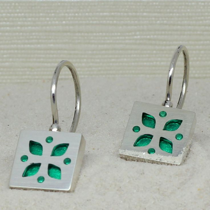 Sterling silver and green acrylic glass earrings, minimalist earrings by intuitashop on Etsy