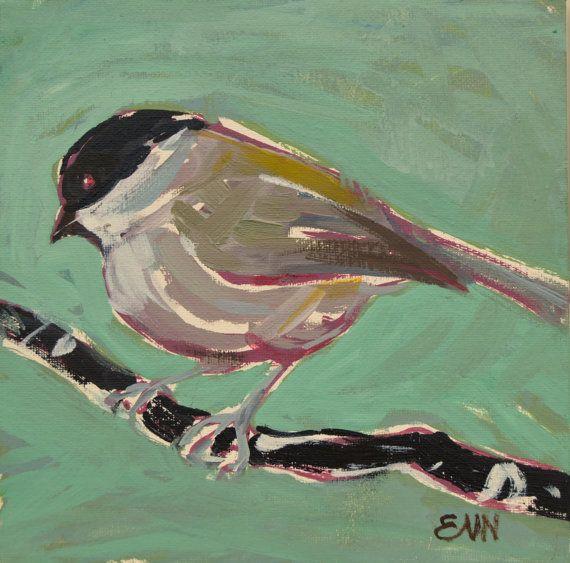 Original bird oil painting / Marsh Tit / by NielsenDenmark on Etsy