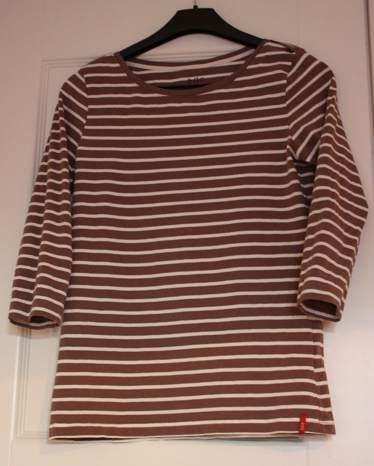 Number three of three tops - brown striped 3/4 sleeved tee