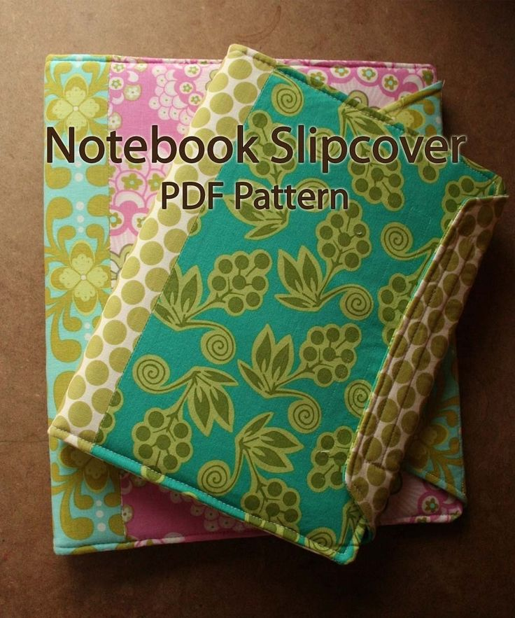 Notebook Cover Pattern : Image of notebook slipcover pdf sewing pattern bullet