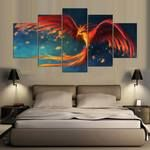 Phoenix Wall Art, Phoenix Canvas Art, Large Phoenix 5 Piece Canvas Print, Phoenix Wall Decor, Phoenix Mythical Bird Modern Decor, Framed