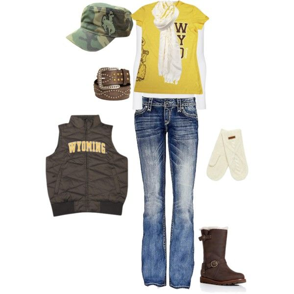 University of Wyoming by bcdurante on Polyvore featuring Splendid, Rock Revival, UGG Australia, Faliero Sarti, Weird Fish, Ariat, pistol pete and wyoming