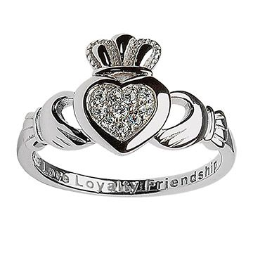 I love the symbolism behind claddagh rings... heart for love, crown for loyalty, and hands for friendship.